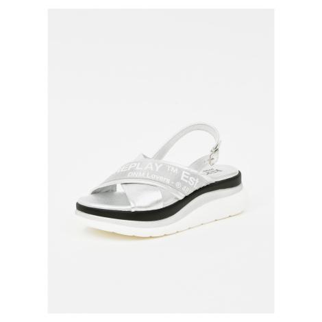 Replay stříbrné sandály na platformě