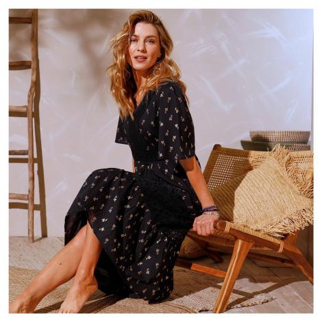 Blancheporte Dlouhé šaty z voálu a krajky černá/zlatá