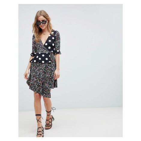 ASOS DESIGN Wrap Dress In Mixed Print-Black