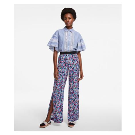 Kalhoty Karl Lagerfeld Printed Silk Snap Pants - Různobarevná
