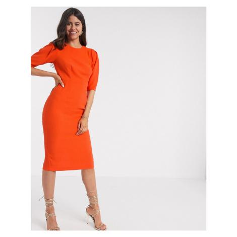Closet London wiggle midi dress in orange