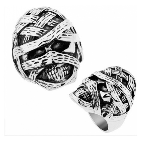 Masivní prsten z oceli 316L, lesklý a patinovaný povrch, vypouklá mumie Šperky eshop