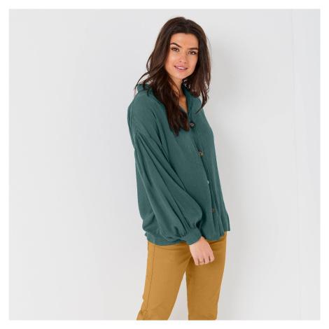 Blancheporte Košilová halenka na knoflíčky, jednobarevná zelená
