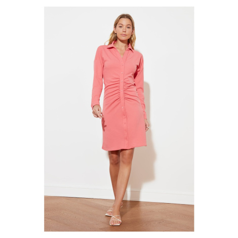 Trendyol Pink Ruffled Detail Knitted Dress