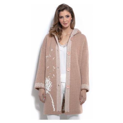 Teplý pletený kardigan s kapucí na knoflíky se vzorem
