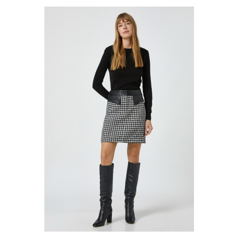 Koton Women's Black Faux Leather Detailed Sweater Skirt