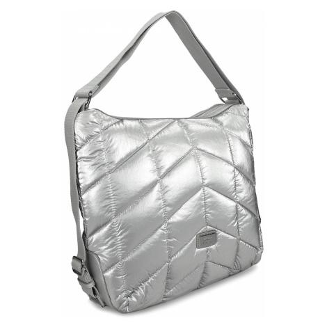 Stříbrná prošívaná kabelka s nastavitelným uchem Baťa