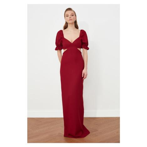 Trendyol Burgundy Neck Detailed Evening Dress & Graduation Gown