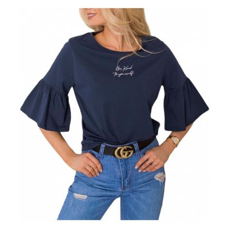 Dámské tmavě modré tričko se zvonovými rukávy Rue Paris