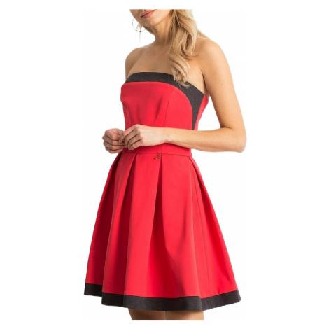 Dámské růžovo-černé šaty s odhalenými rameny BASIC