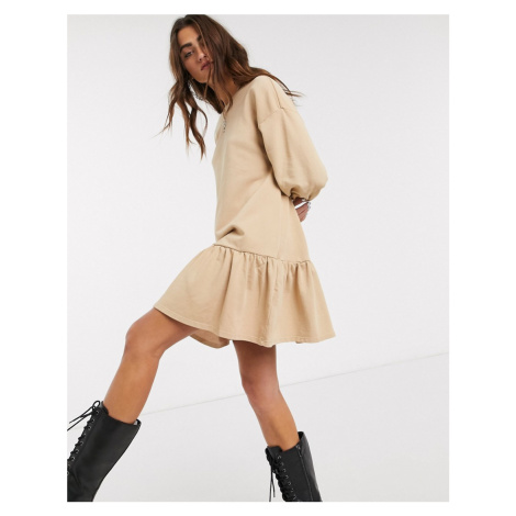 Bershka jersey smock dress in camel-Brown