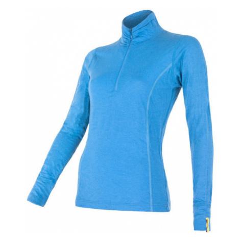 Dámské tričko SENSOR Merino Active dl. rukáv stoják zip modrá