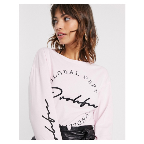 River Island prolific slogan long sleeve t-shirt in pink