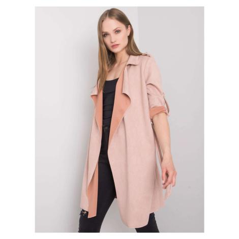 Pudrově růžový dámský plášť jedna FPrice