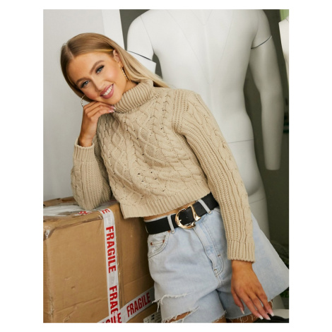 I Saw It First cropped cable knit jumper in light beige