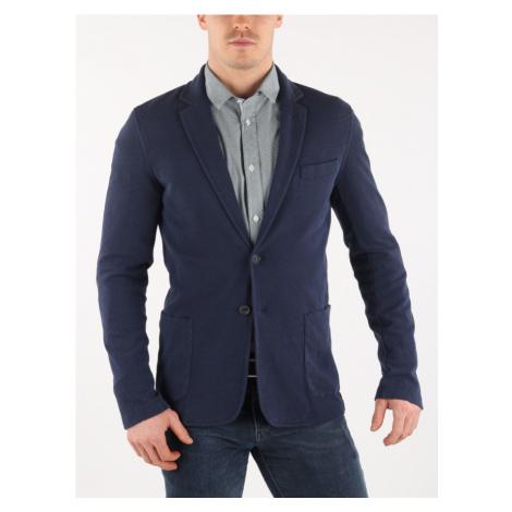 Sako Trussardi Jacket Slim Fit Jersey Knit Effect Modrá