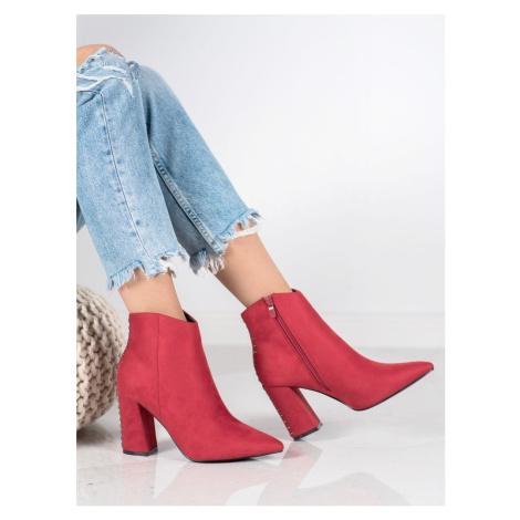 Klasické  kotníčkové boty červené dámské na širokém podpatku Seastar