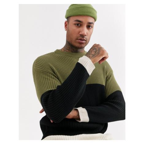 Bershka colour block jumper in khaki-Green