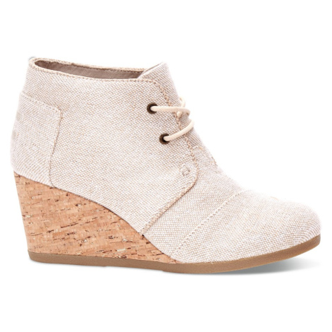 DESERT WEDGE-Natural Metallic Linen Toms
