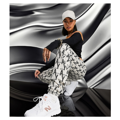 ASYOU oversized joggers in all over branded print-Multi