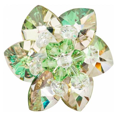 Evolution Group Brož bižuterie se Swarovski krystaly zelená kytička 78002.5