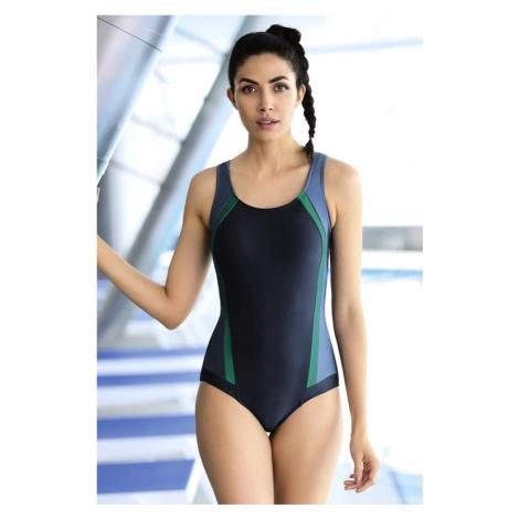 Zeštíhlující jednodílné plavky Aimee modré pruhy Self