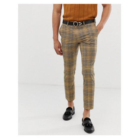 River Island skinny fit trousers in yellow check