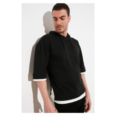 Trendyol Black Male Oversize Fit Contrast Detail 3/4 Sleeve Sweatshirt