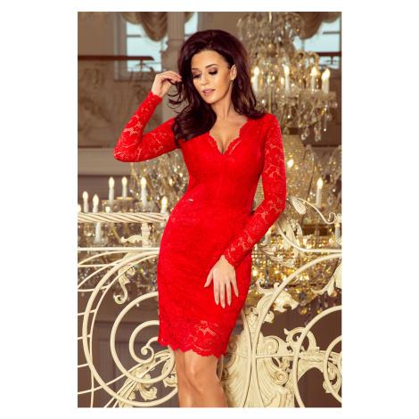 Červené krajkové šaty s výstřihem CLAUDIO 170-6 NUMOCO