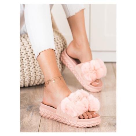 Stylové nazouváky dámské růžové bez podpatku Seastar