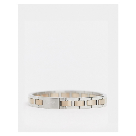 Hugo Boss metal link bracelet in silver and rose gold