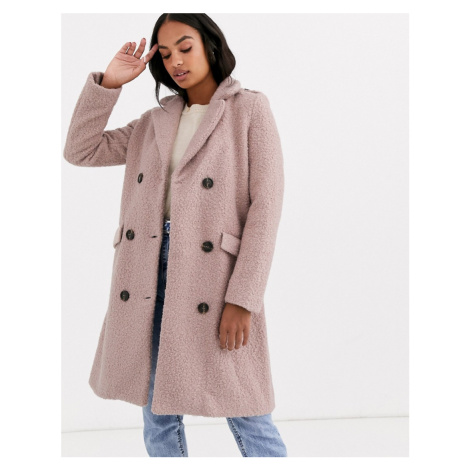 Y.A.S belted wrap coat in texture-Pink