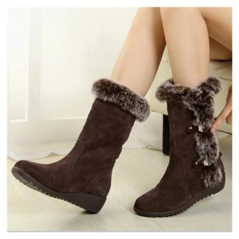 Semišové zimní polokozačky se srstí sněhové boty s kožíškem