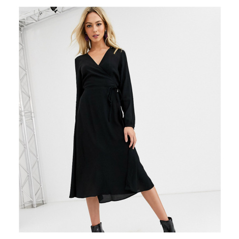 New Look long sleeve wrap midi dress in black
