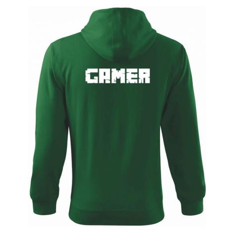 Gamer nápis - Mikina s kapucí na zip trendy zipper