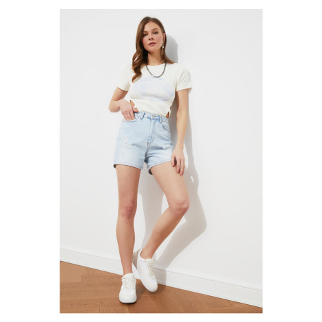 Trendyol Light Blue Ripped Detailed Denim Shorts