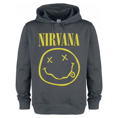 Nirvana Amplified Collection - Smiley Mikina s kapucí charcoal