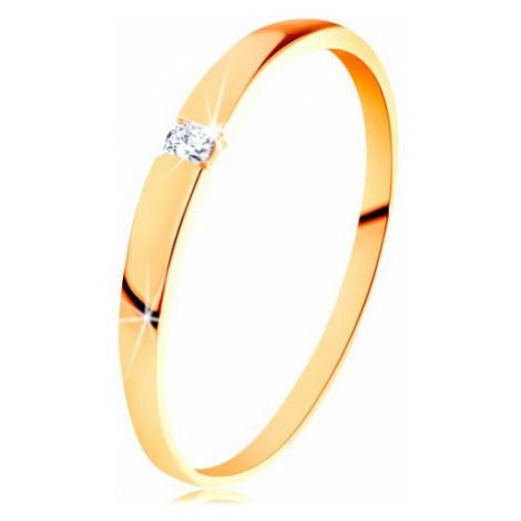 Zlatý prsten 585 - blýskavý diamant čiré barvy, hladká vypouklá ramena Šperky eshop
