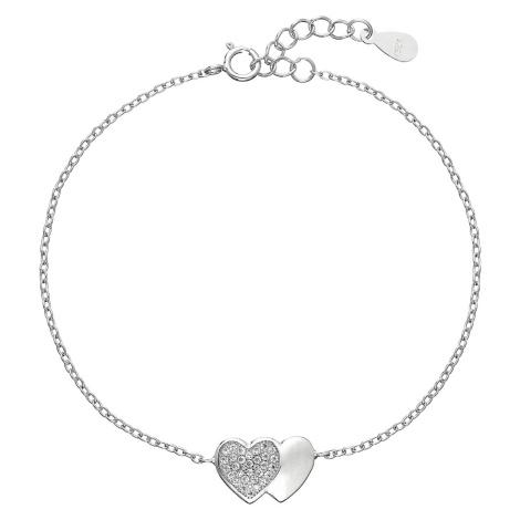 Stříbrný náramek se zirkony srdce 13010.1 Victum