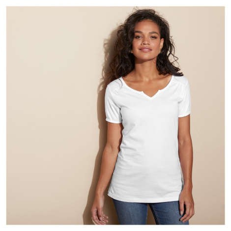 Blancheporte Jednobarevné tričko s tuniským výstřihem bílá