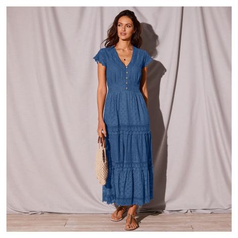 Blancheporte Dlouhé šaty s krajkou a macramé indigo
