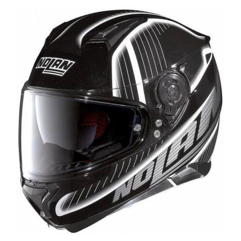 Moto helma Nolan N87 Harp N-Com Flat Black-White Barva černo-bílá