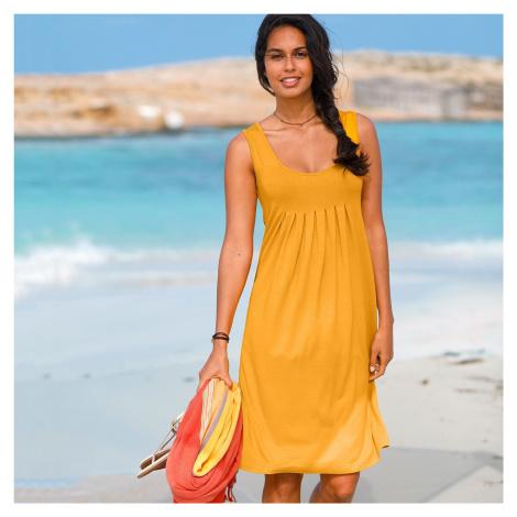 Blancheporte Jednobarevné šaty s kulatým výstřihem šafránová