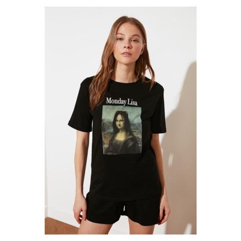 Trendyol Black Mona Lisa Printed Licensed Knitted Pajamas Set