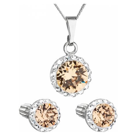 Sada šperků s krystaly Swarovski náušnice, řetízek a přívěsek hnědé oranžové kulaté 39352.3 ligh Victum