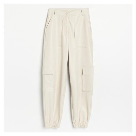 Reserved - Koženkové kalhoty - Béžová