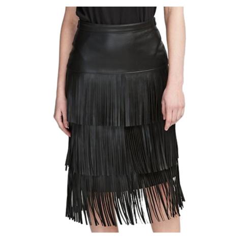 Černá kožená sukně KARL LAGERFELD