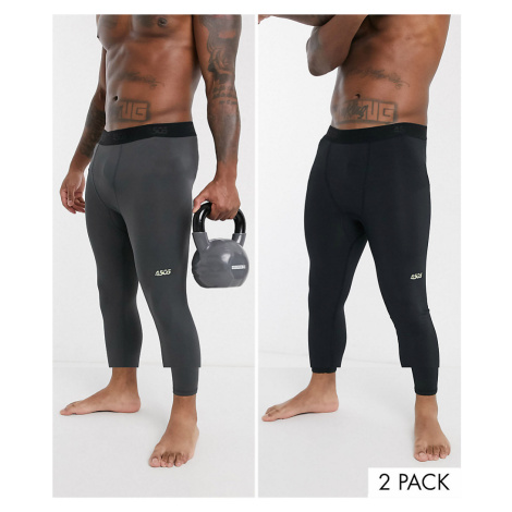 ASOS 4505 icon running tights with quick dry 2 pack-Black