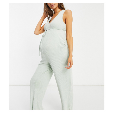 ASOS DESIGN Maternity mix & match lounge super soft rib jumpsuit with waist tie in sage-Green