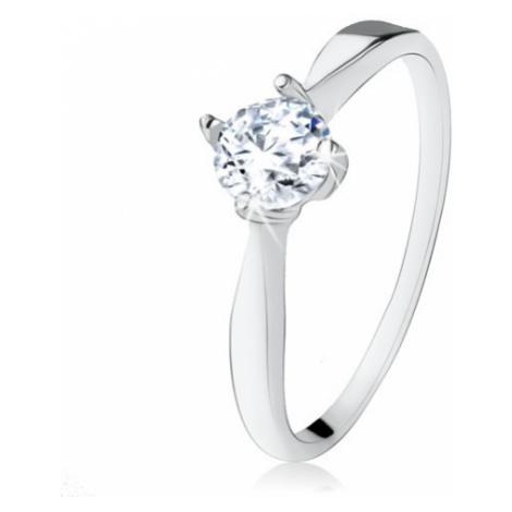 Zásnubní stříbrný prsten 925, broušený čirý zirkon, úzká ramena Šperky eshop